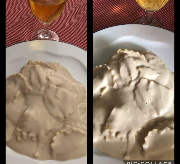 Ravioli de setas con trufa y salsa de crema en Thermomix®