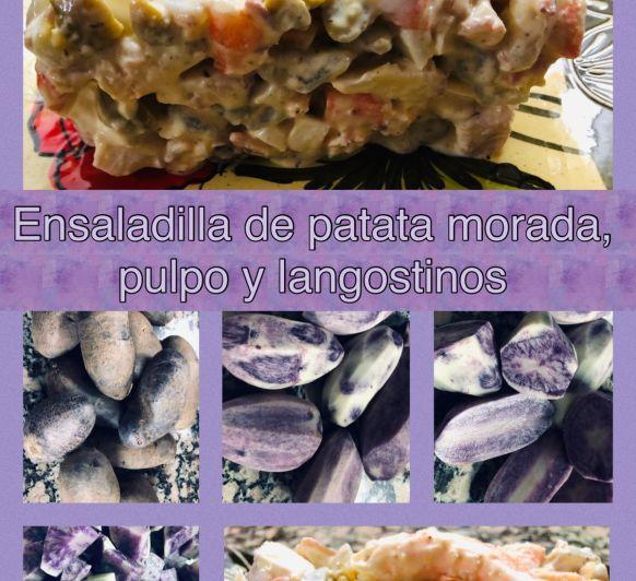 Ensaladilla de patata morada, con pulpo y langostinos