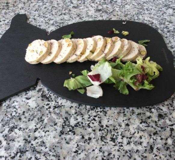 Fiambre de pollo con Pistachos y crema de verduras