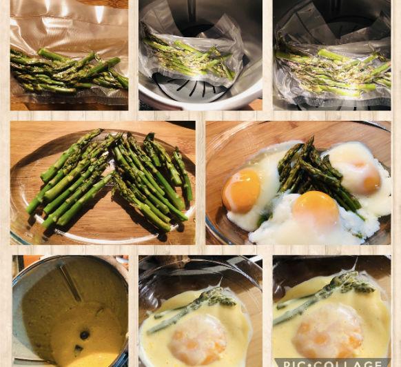 Espárragos con huevos Benedict y salsa holandesa en Thermomix®