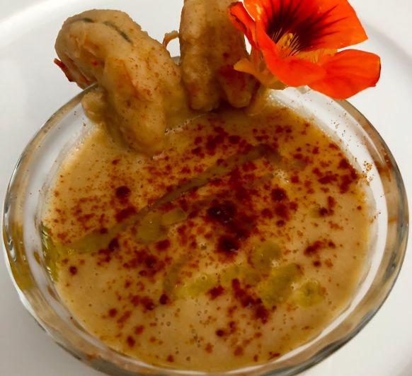 Crema de Cuaresma con garbanzos y Gambon en Thermomix®