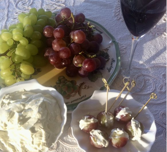 Uvas con crema de queso azul en Thermomix®